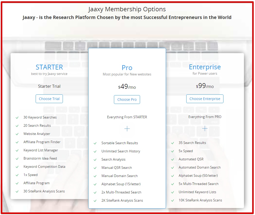 Jaaxy Pricing