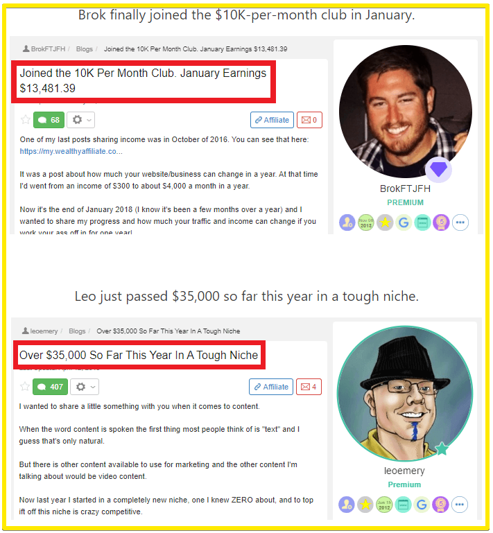 $10K per month at wealthy affiliate success stories