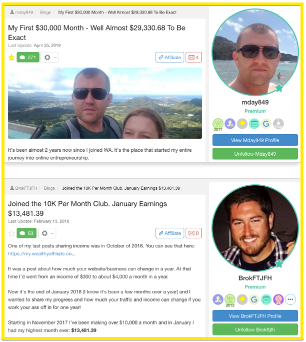some wealthy affiliate success stories