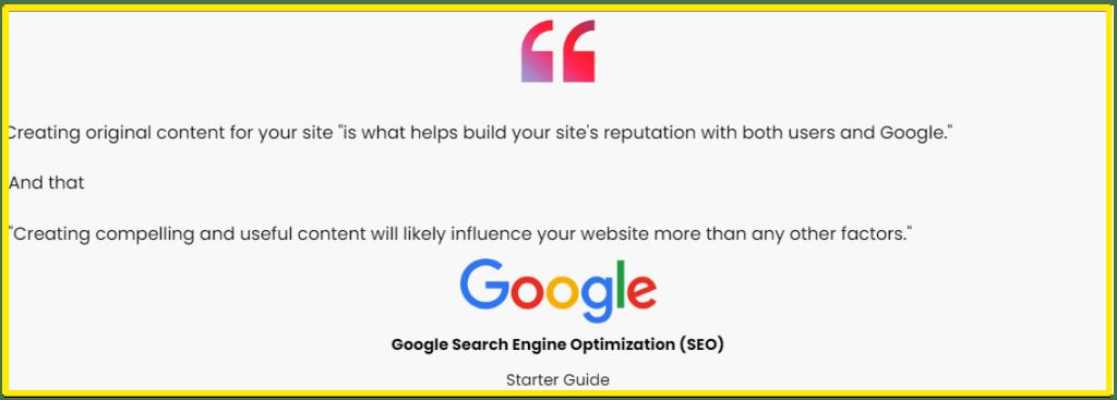 Google advice on original content