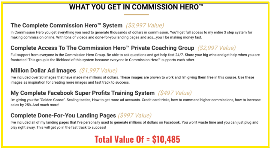 Commission Hero includes