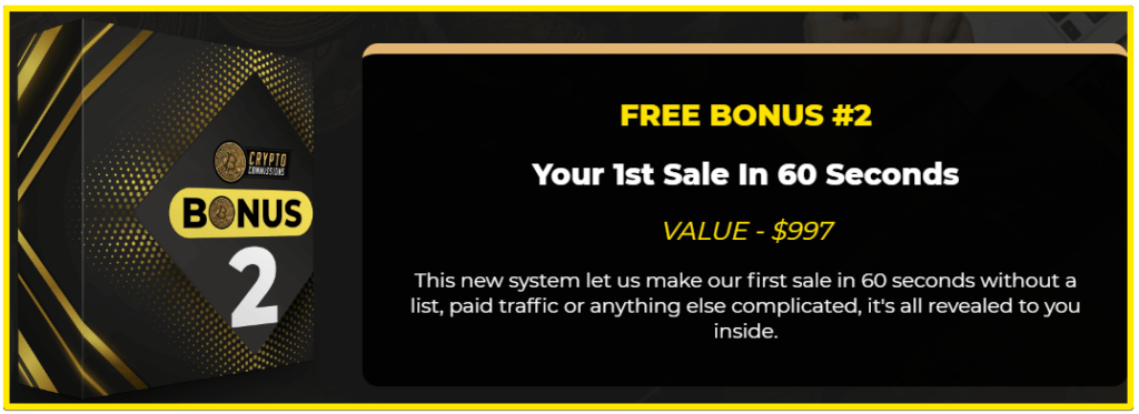 Crypto Commissions bonus 2 first sale in 60 seconds