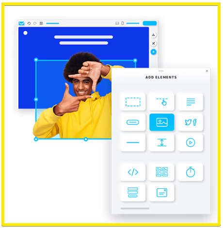 GetResponse website builder drag and drop editor feature example