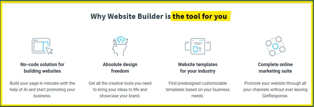 GetResponse website builder tools
