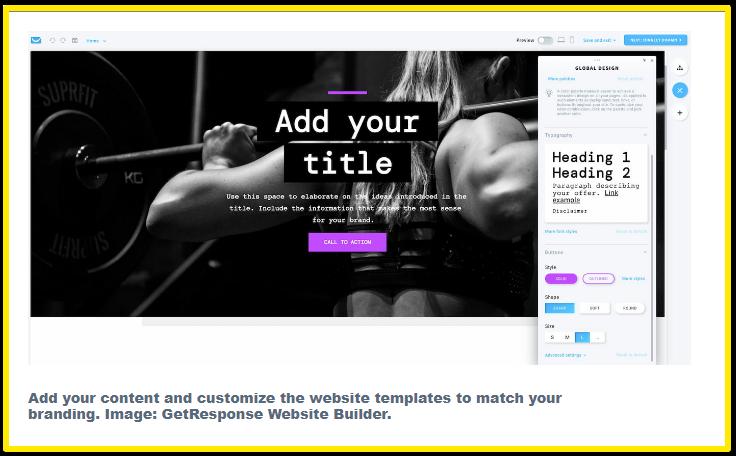 GetResponse website builder example screen