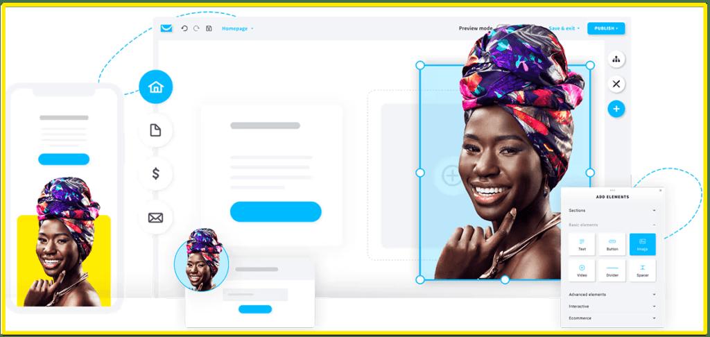 GetResponse website builder example screen shot