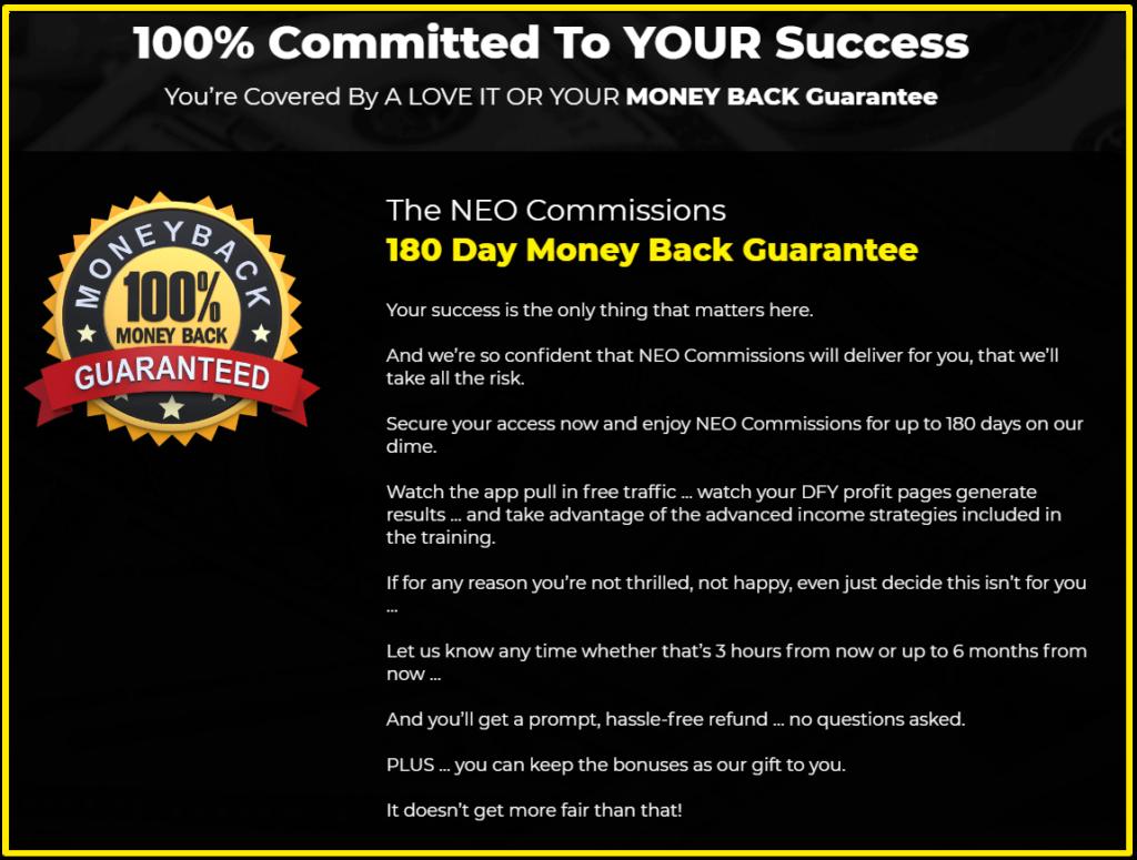 NeoCommissions money back guarantee