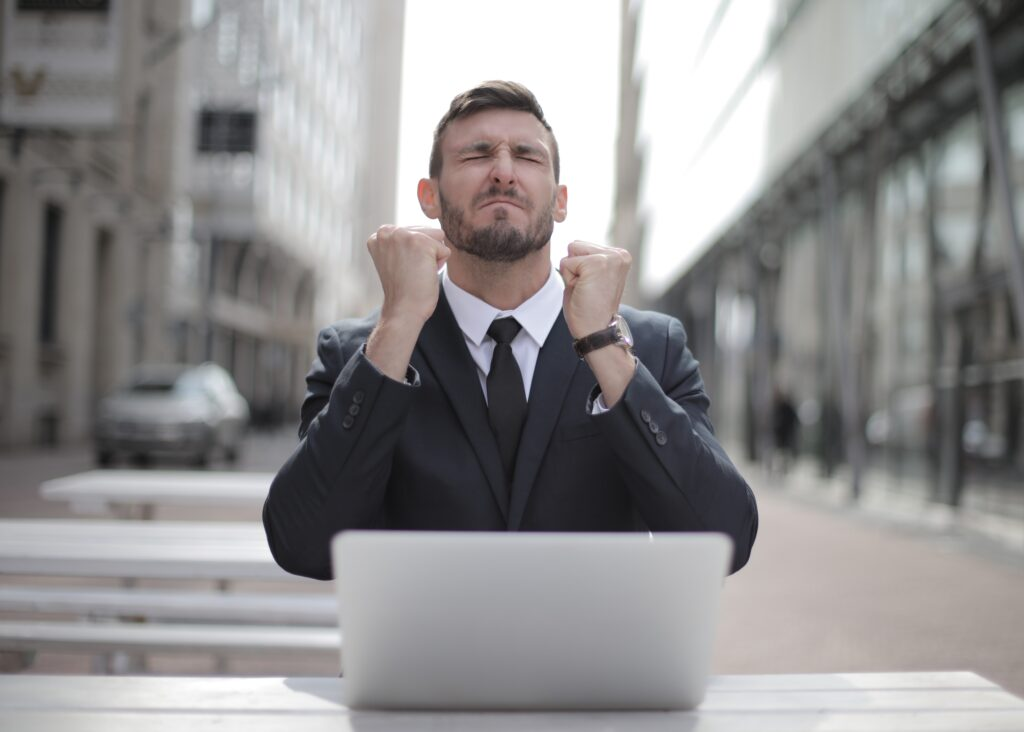 Frustrated gentleman trying to figure out how to make money online.
