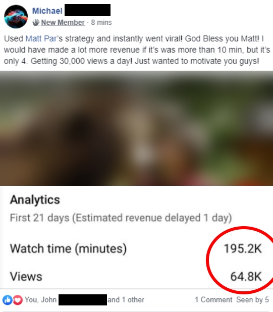 Tube Mastery and Monetization student results - Matt Parr's Tube Mastery and Monetization review